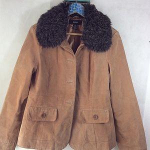 Alfani Tan Suede Faux Fur Collar Jacket sz XL EUC